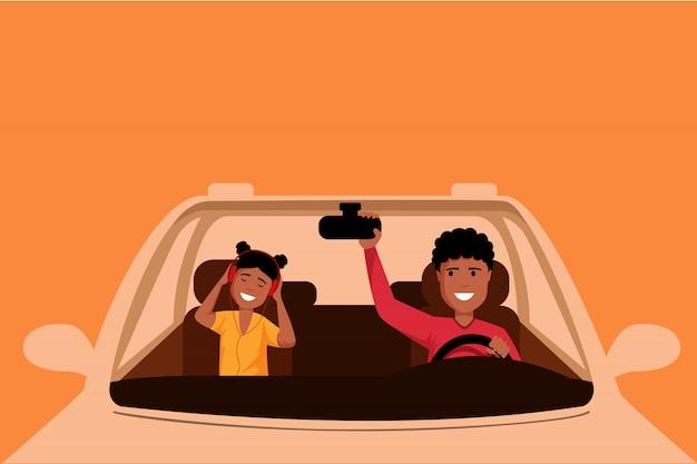Amerykanina afrykańskiego pochodzenia mężczyzna napędowa auto ilustracja. ojciec i córka siedzi na przednich siedzeniach samochodu, rodzinna wycieczka samochodowa. młoda dziewczyna słucha muzyka z hełmofonami w pojeździe