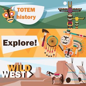 Amerykańscy indianie dziki zachód płaski zestaw bannerów na białym tle