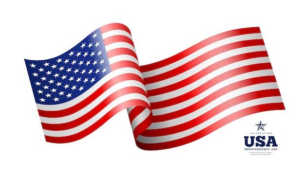 Amerykańska flaga macha na białym tle na białym tle ilustracji wektorowych
