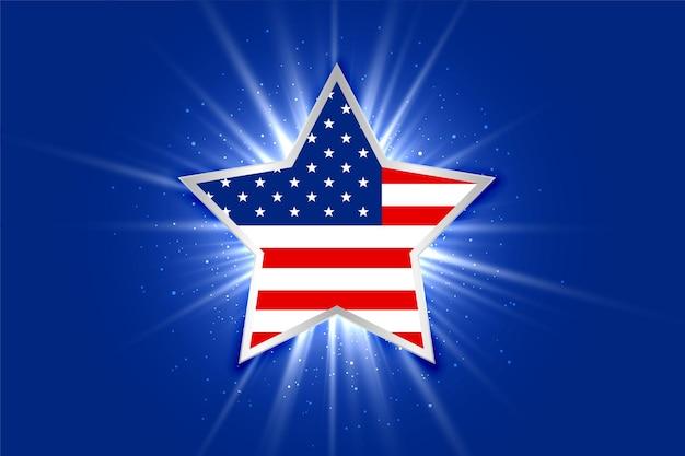 Amerykańska flaga na świecącym tle gwiazdy