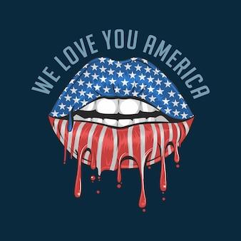 Amerykańska flaga usta uwielbiamy amerykę