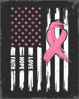 Amerykańska flaga z różową wstążką koncepcja miesiąca świadomości raka piersi wsparcie opieki zdrowotnej dla kobiet
