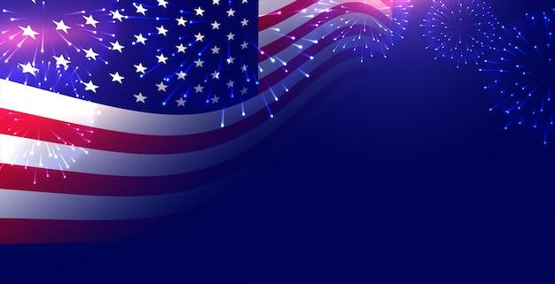 Amerykańska flaga z tłem pokazu fajerwerków