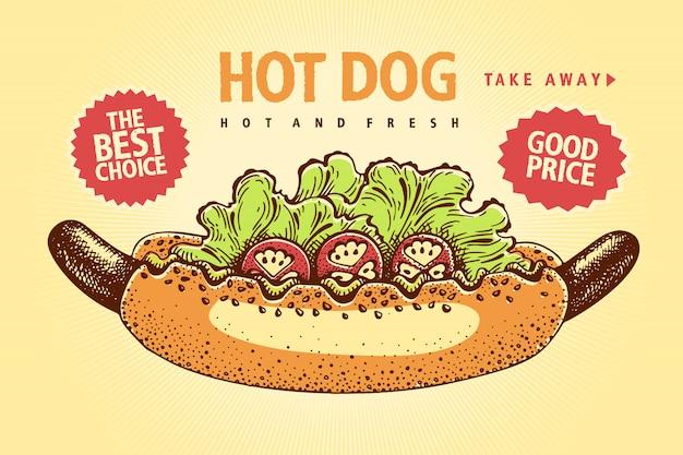 Amerykańska kanapka hot dog z musztardą, pomidorami i sałatką. plakat szablon wektor ilustracja. banner retro.