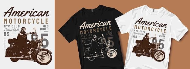 Amerykańska koszulka motocyklowa projektuje towary