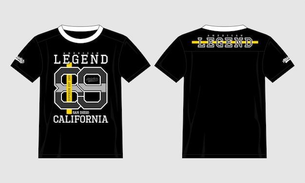Amerykańska legenda 89 graficzna typografia t shirt ilustracja wektorowa premium wektorów