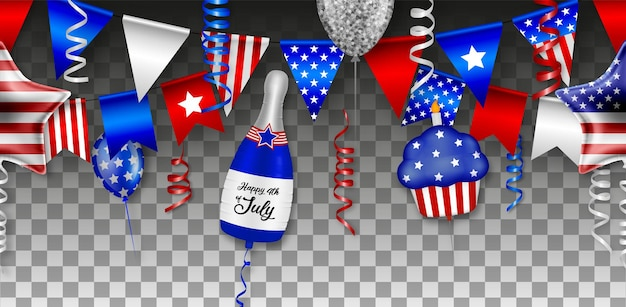 Amerykańska niepodległość bezszwowa z balonami serpentynami i proporczykami