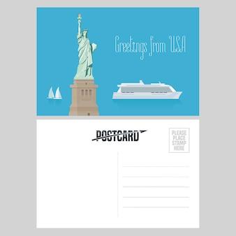 Amerykańska statua wolności ilustracja. element do karty pocztowej wysłanej z usa w celu podróży do ameryki ze słynnym punktem orientacyjnym