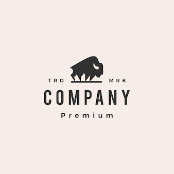 Amerykański bawół bizon hipster vintage szablon logo