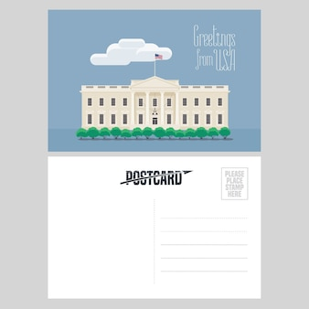 Amerykański biały dom ilustracja. element do karty pocztowej wysłanej z usa w celu podróży do ameryki ze słynnym punktem orientacyjnym