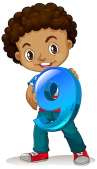 Amerykański chłopiec trzymający matematykę numer dziewięć