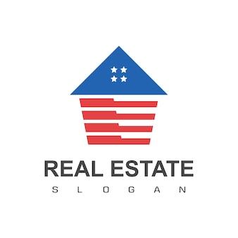Amerykański dom, szablon logo nieruchomości