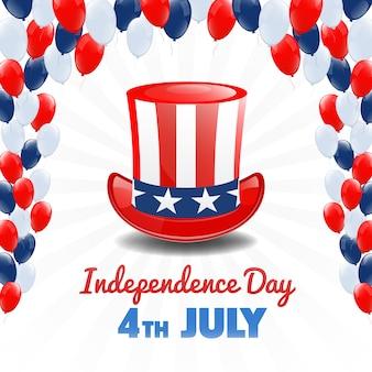Amerykański dzień niepodległości. 4 lipca święto usa. tło dzień niepodległości. ilustracji wektorowych