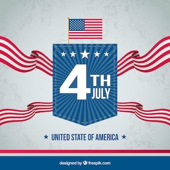 Amerykański dzień niepodległości z flagą i znaczek