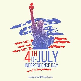 Amerykański dzień niepodległości z posągiem wolności