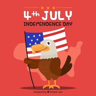 Amerykański dzień niepodległości z zabawnym orłem