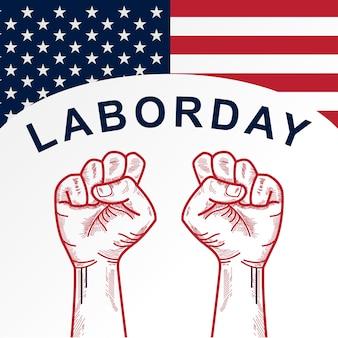 Amerykański dzień pracy z tłem zaciśniętej pięści