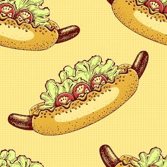 Amerykański hot dog z musztardą, pomidorami i sałatką. wektorowy bezszwowy wzór z fastem food