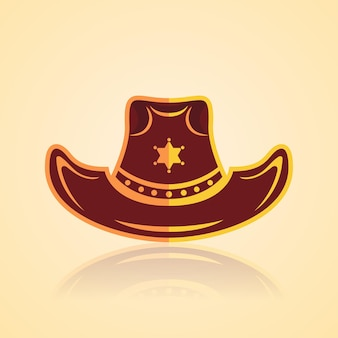 Amerykański kowbojski kapelusz rodeo w stylu westernowym ze złotym wzorem i gwiazdą szeryfa