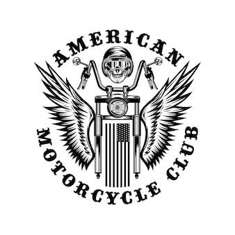 Amerykański niestandardowy motocykl vintage odznaka emblemat