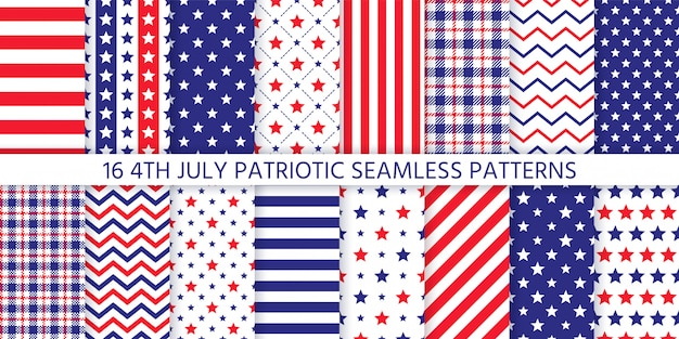 Amerykański patriotyczny wzór. ilustracja. 4 lipca niebieskie, czerwone nadruki.