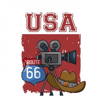 Amerykański rozrywki kamera wideo z kowbojskiego kapeluszu 66 i trasy znaka graficznym ilustracyjnym desig
