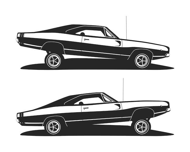 Amerykański samochód z niskim poziomem mięśni. profil klasycznych samochodów lowrider.