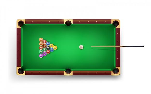 Amerykański stół bilardowy z bilardem i błyszczącymi piłkami oraz innym wyposażeniem.