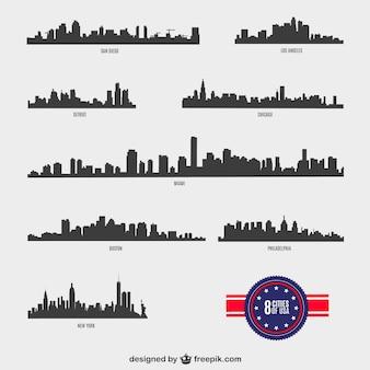 Amerykańskich miast sylwetki wektora