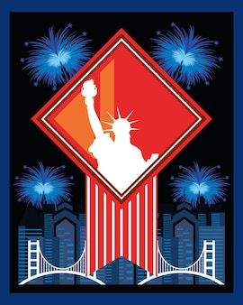 Amerykańskie fajerwerki statua wolności w nowym jorku
