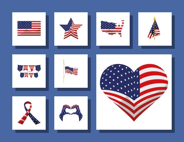 Amerykańskie flagi gwiazda serce wstążka
