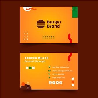 Amerykańskie jedzenie dwustronne poziome wizytówki szablon