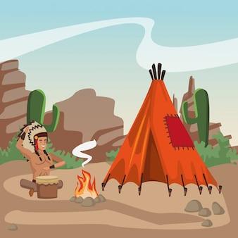 Amerykańsko-indiański bawić się bęben przy wioską