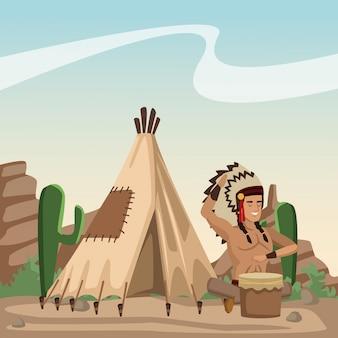 Amerykańsko-indiański kreskówka w pustyni