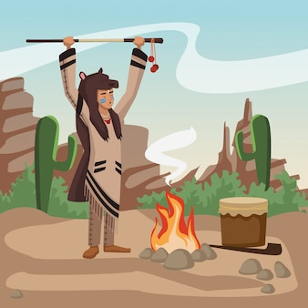 Amerykańsko-indiański z włócznią przy wioską
