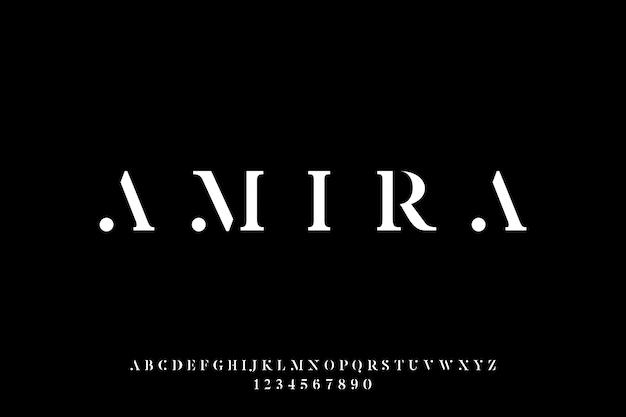 Amira, luksusowa i elegancka czcionka wyświetlana w alfabecie