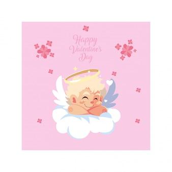 Amora anioł śpi na chmurze, walentynka dzień
