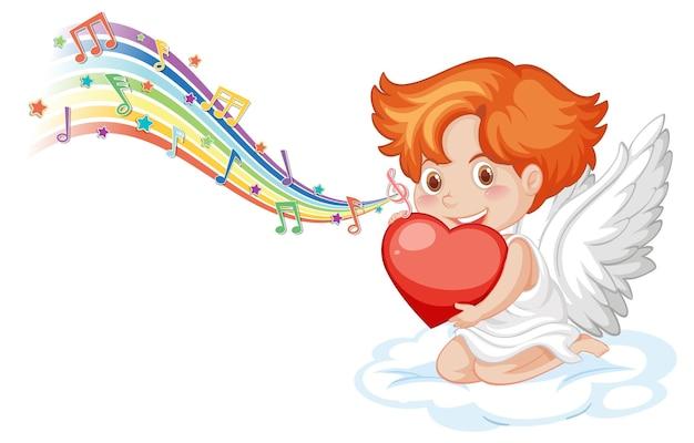 Amorek anioł postać z symbolami melodii na tęczy