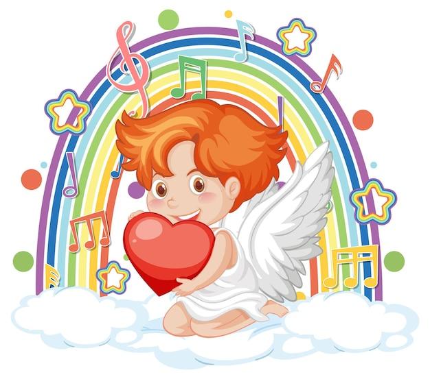 Amorek chłopiec na chmurze z symbolami melodii na tęczy