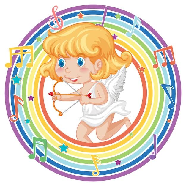 Amorek dziewczyna w tęczowej okrągłej ramce z symbolem melodii