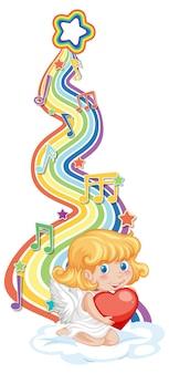 Amorek dziewczyna z symbolami melodii na fali tęczy