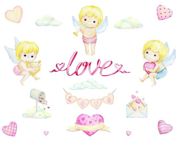 Amorki, litery miłości, chmury, serca. zestaw akwareli, elementy, w stylu kreskówki, na białym tle.