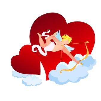 Amour lub amorek ze złotym łukiem i strzałą w niebo