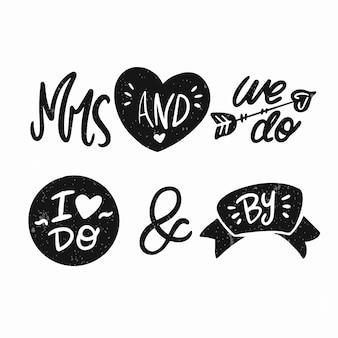 Ampersands i słowa kluczowe na białym tle