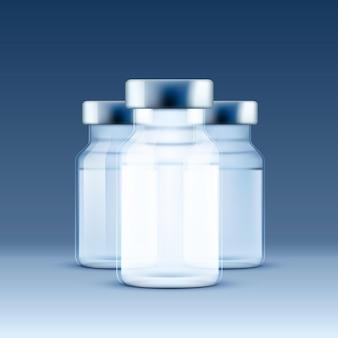 Ampułka medyczna, obiekty na niebieskim tle. ilustracja wektorowa