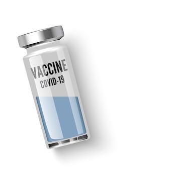 Ampułka ze szczepionką covid19 na białym, widok z góry