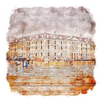 Amsterdam holandia akwarela szkic ręcznie rysowane ilustracja