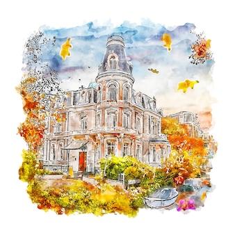 Amsterdam holandia szkic akwarela ręcznie rysowane ilustracja