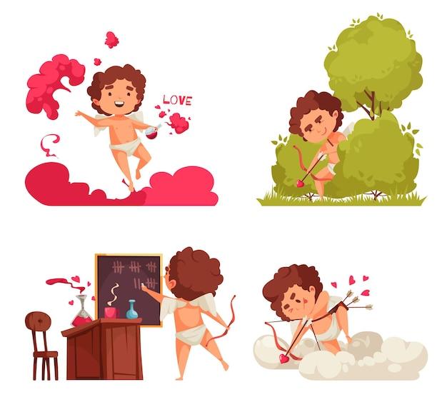 Amur amorek walentynki zestaw czterech kompozycji z doodle postaciami amoretto w różnych sytuacjach