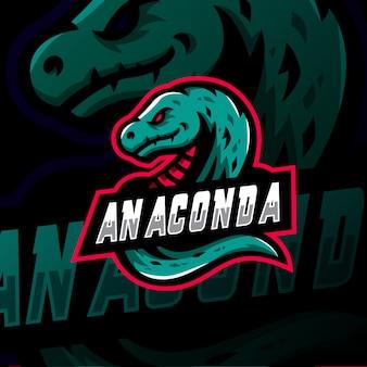 Anaconda maskotka logo esport gaming